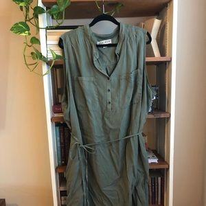 Plus Size Army Green Tie Dress 3X
